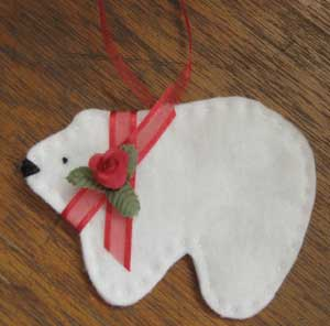 polar bear ornament made from scraps