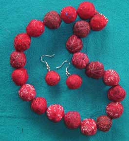 round fabric bead necklace and earrings
