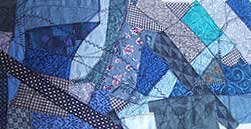 decorative stitching on fabric collage
