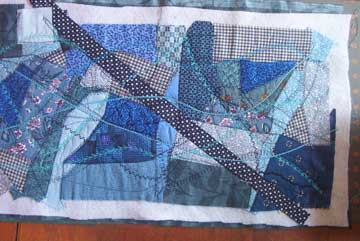 couching on fabric collage